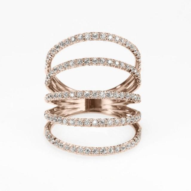 wedding photo - Diamond Skin Ring, Diamonds Shield Lace Diamond Ring. handmade by Silly Shiny Diamonds, wide diamond ring, anniversary diamond ring