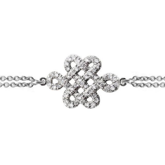 wedding photo - Endless Knot Diamond Bracelet Tibetan symbol of endless love, Endless Love Knot, 14K gold bracelet, 0.25 CT diamonds