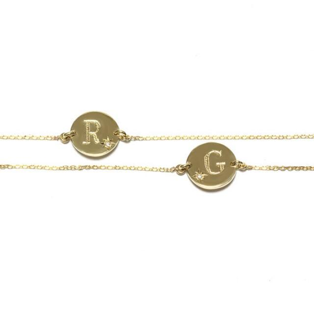 wedding photo - Gold Initials Bracelet - Personalized custom made 2 letters Twins Bracelet - Diamond Bracelet , Name bracelet
