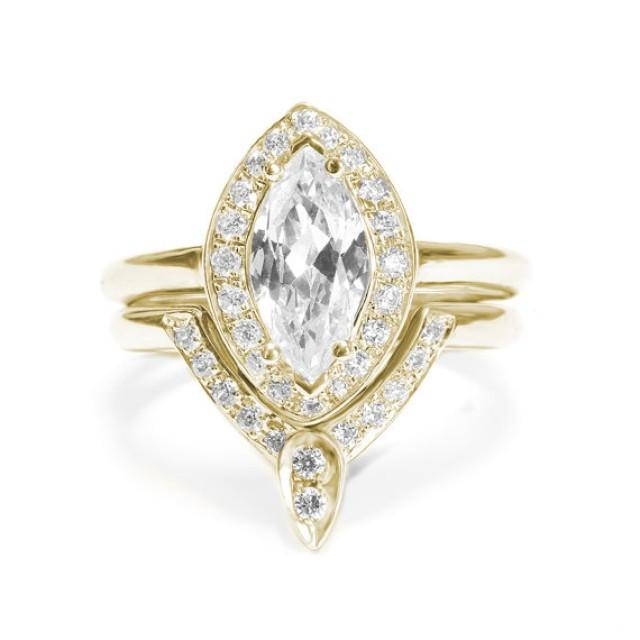 wedding photo - Marquise Diamond Engagement Ring with Matching Side Diamond Band - The 3rd Eye