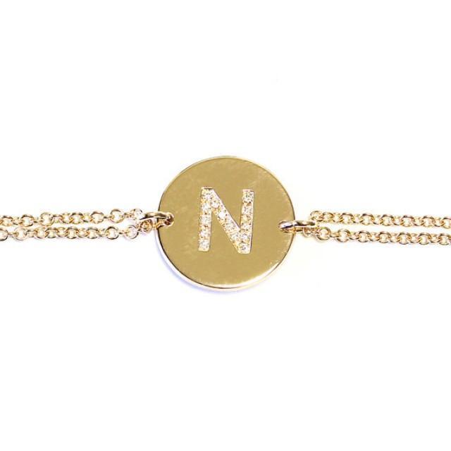 wedding photo - Solid 14K Gold Diamond Initials Bracelet , Name Diamond bracelet - Push Present Personalized Bracelet, Custom bracelet
