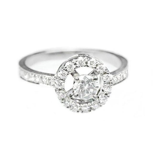 wedding photo - Halo Engagement Ring, 14K White Gold Ring, 0.65 CT Pave Diamond Ring, Halo Ring, Unique Engagement Ring, Art Deco Ring