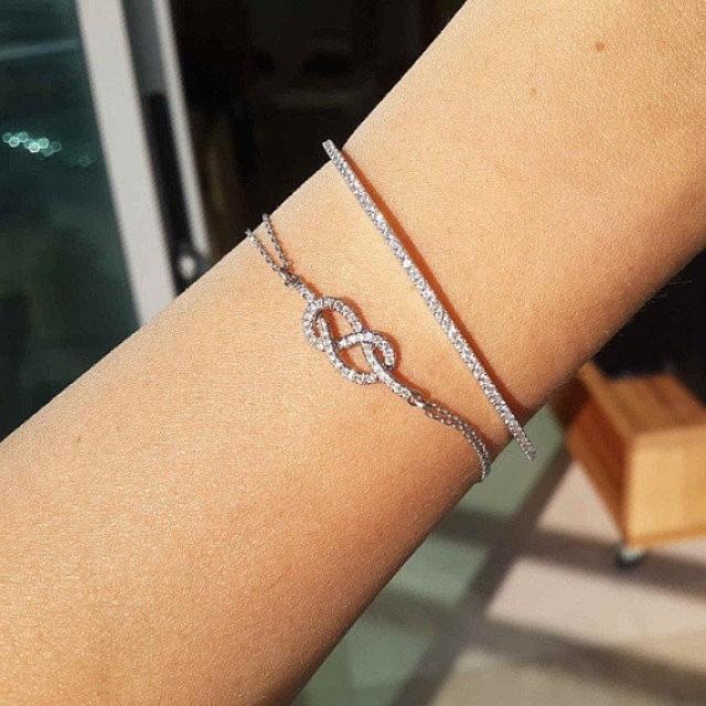 wedding photo - Infinity Knot Diamond Bracelet- Gold & Diamonds