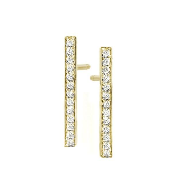 wedding photo - Diamond Bar Stud Earrings - 14k gold