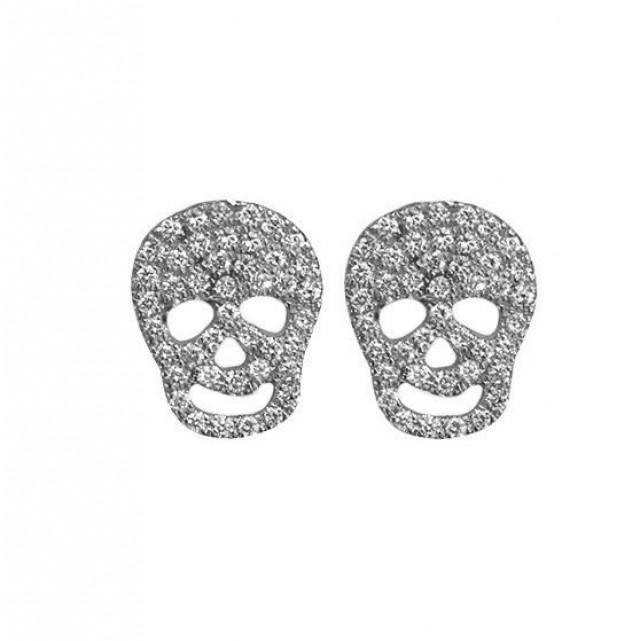 wedding photo - Skull Diamond Stud Earrings - 14k gold