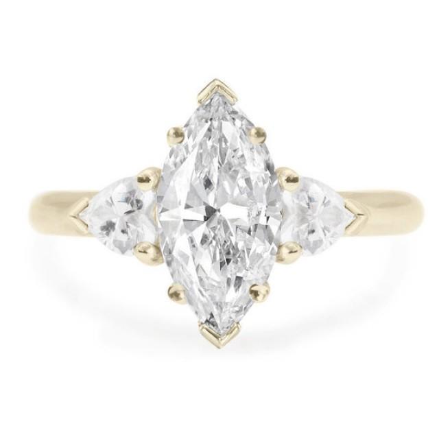 wedding photo - Unique 3 stone Marquise & Hearts Ring Diamond Engagement Ring