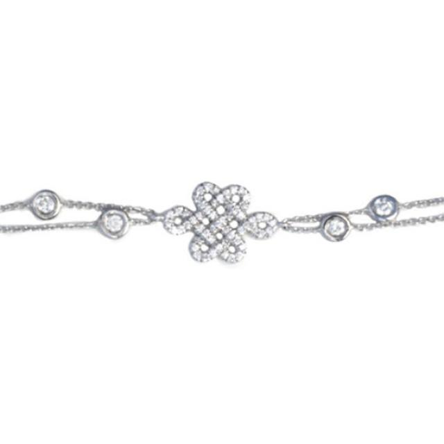 wedding photo - Endless Love Knot Diamond Bracelet, Diamonds by the yard chain. Love Knot Diamond bracelet 0.80ct, 14K solid Gold