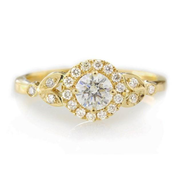"wedding photo - Diamond Engagement Ring with Pave Diamonds Halo ""Rome Crown"" - 14k Yellow Gold"