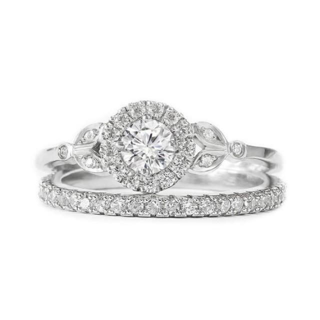 wedding photo - Rome Crown Unique Diamond Engagement Ring with Matching Pave Diamonds Ring - Diamond Wedding Ring set