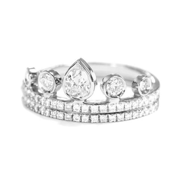wedding photo - Pear Diamond Crown Engagement Ring with matching Eternity Ring - Unique Engagement Rings - Pear Shaped Diamond - Crown Ring