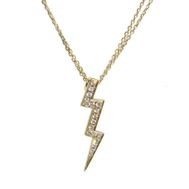 wedding photo - Lightning Diamond Pendant Necklace 14k gold - Sweet 16 Diamonds Necklace