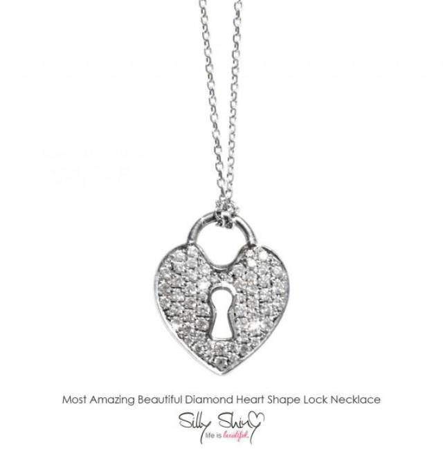 wedding photo - Diamond Heart Locket Necklace, 14K White Gold Pendant Necklace, Key Necklace, Heart Necklace, Diamond Necklace, Gold Necklace