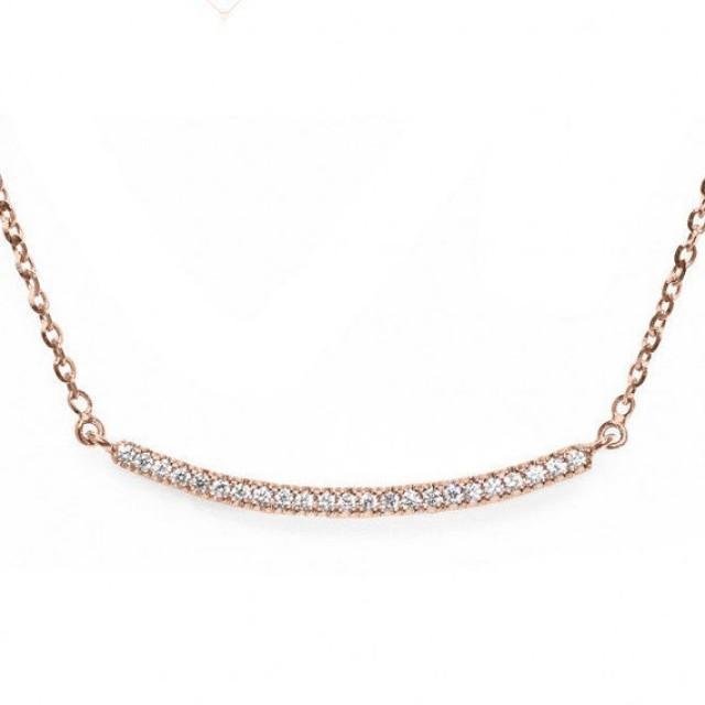 wedding photo - Diamond Necklace, 14K Rose Gold Necklace, Gold Bar Necklace, Smile Necklace, Curved Bar Necklace, Diamond Bar Necklace
