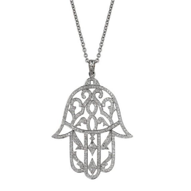 "wedding photo - Unique Hamsa ""Five"" Diamond Necklace, Big Hamsa ""Five"" Diamond Pendant - Unique diamond necklace"