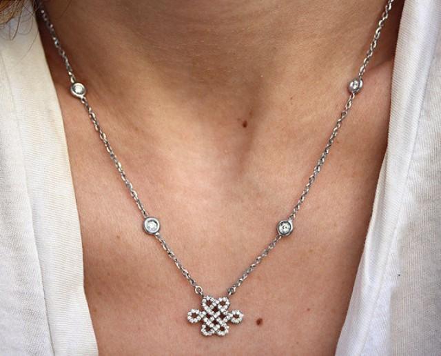 wedding photo - Tibetan Necklace, White Gold Pendant Necklace, Tibetan Jewelry, Diamond Necklace, Love Necklace, Tibetan Pendant, Handmade Jewelry
