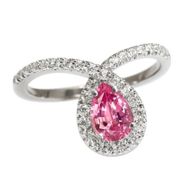 wedding photo - Pink Pear Engagement Ring, 14K White Gold Ring, 0.4 CT Pave Diamond Ring, Pink Sapphire Ring, Unique Engagement Ring, Pear Shaped Ring