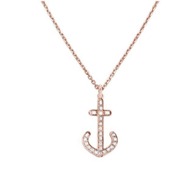 wedding photo - Diamond Anchor Necklace, 14K Rose Gold Pendant Necklace, Anchor Jewelry, Diamond Pendant, Nautical Jewelry, Anniversary Gift