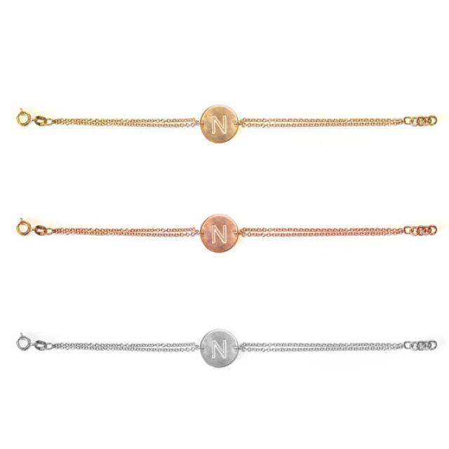 wedding photo - Solid 14K Gold Initials Bracelet , Name bracelet - Push Present personalized bracelet, custom bracelet