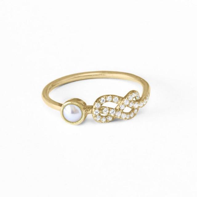 wedding photo - Pearl Engagement Ring, Original Infinity Knot Ring, 14K/18K Gold Ring, Natural Pearl Ring, Cluster Ring, Pave Diamond Ring