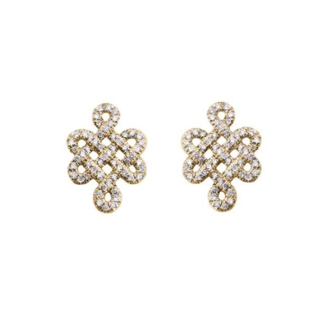 wedding photo - Love Knot Diamond Earrings Tibetan symbol of Endless Love, Gold & Diamonds Stud Earrings, Love Earrings, Diamond Necklace, Anniversary Gift