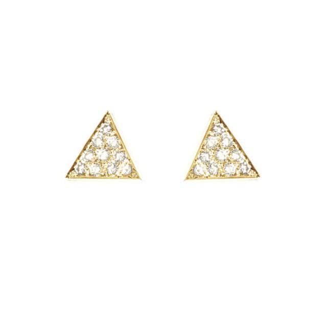 wedding photo - Diamond Triangle Stud Earrings / Diamond Pyramid Earrings / 14K Gold