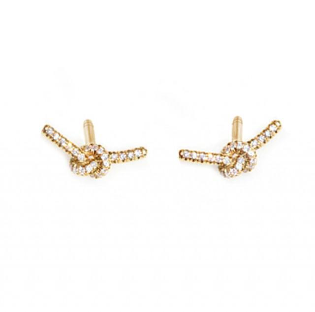 wedding photo - Love Knot Diamond Earrings, 14K Rose Gold Earrings, Love Knot Pendant, Diamond Earrings, Anniversary Gift, Love Knot Jewelry,