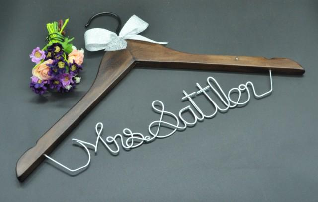 Promotions silver wedding hanger personalized wedding for Personalized wire wedding dress hanger