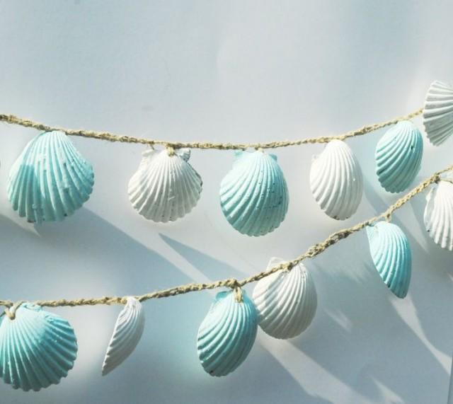 beach themed decor seashell garland lt blue seashell bunting beach wedding isle runner seashell decorations beach party decor luau 2490417 - Beach Themed Decor