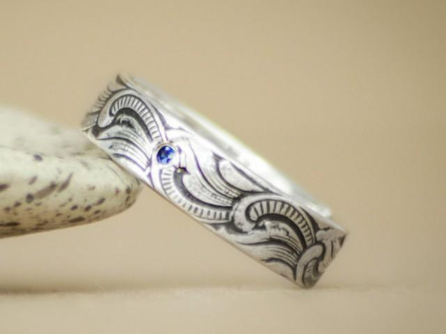 Art Nouveau Men S Engagement Ring In Sterling Silver