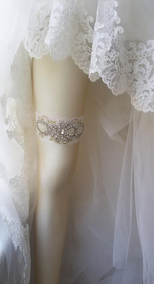 wedding photo - Wedding Garter , Ivory Lace Garter , Bridal Leg Garter, Wedding Garters, Bridal Accessory, Rhinestone Crystal Bridal Garter