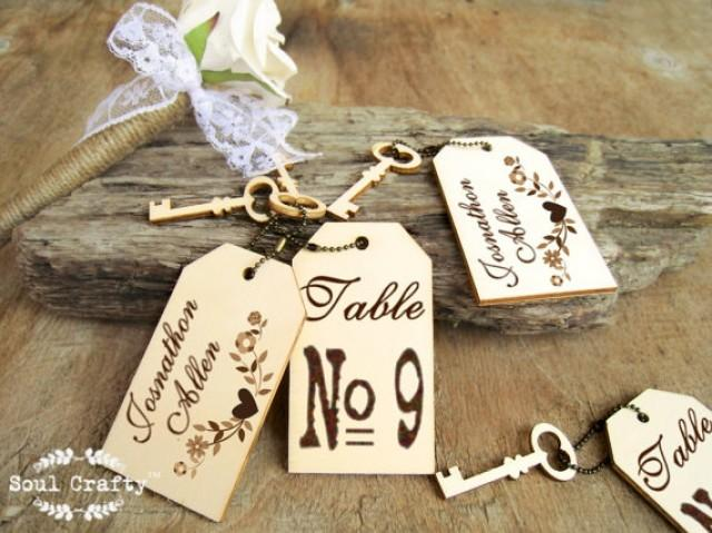 Rustic Wedding Gift Tags : Card Tag Engraved Wooden Place Cards Barn Rustic Wedding Gift Tags ...