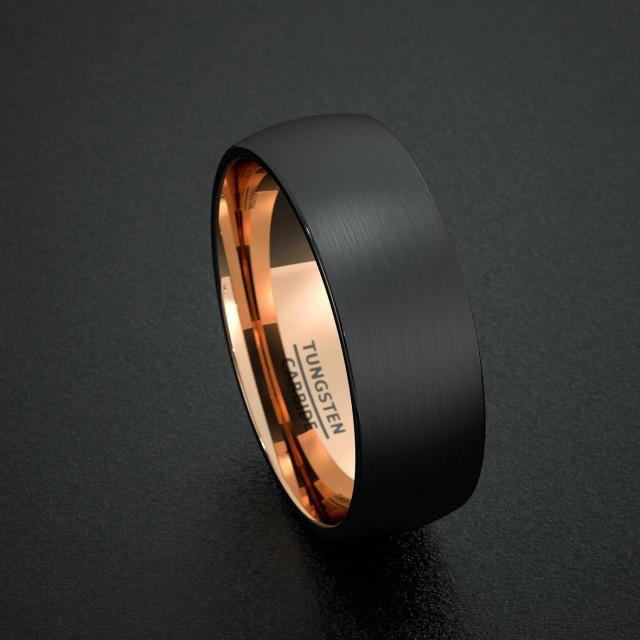 mens wedding band tungsten ring two tone 8mm gold