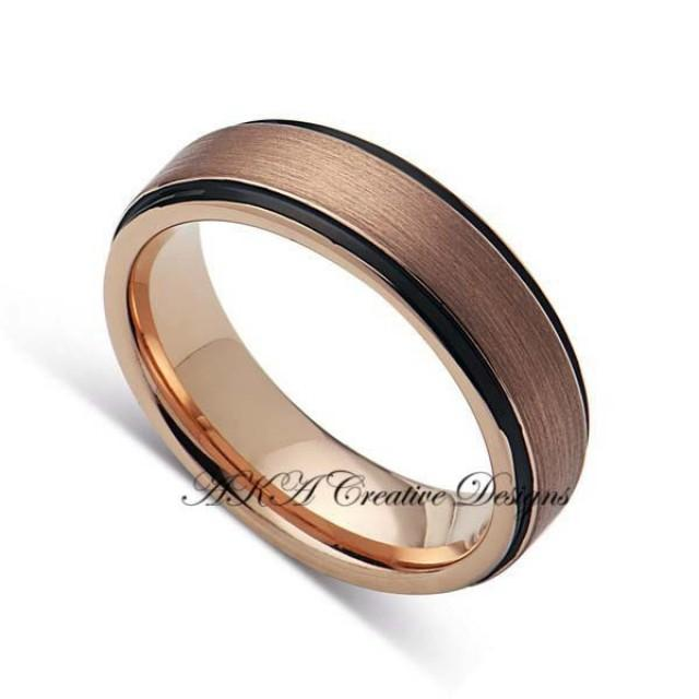 mens tungstenband 6mm two tone black with rose gold mens wedding band tungsten band wedding. Black Bedroom Furniture Sets. Home Design Ideas