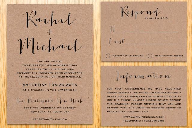 Digital Wedding Invitation Ideas: Digital Printable Kraft Paper Wedding Invitation Suite