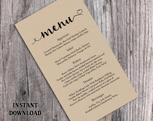 Burlap wedding menu template diy menu card template for Wedding drink menu template free