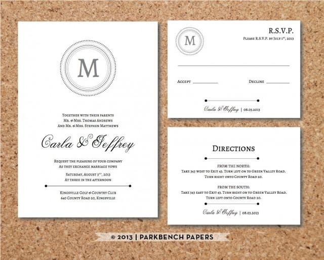 Wedding Invitations With Postcard Response Cards: Editable Wedding Invitation, RSVP Card, And Insert Card