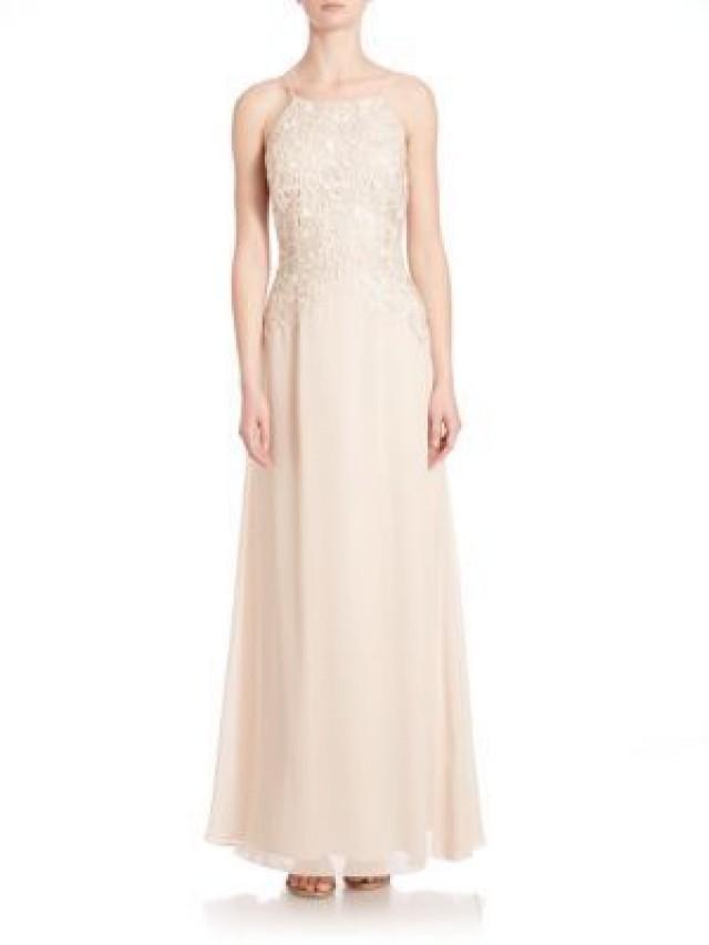 Aidan Mattox Bridesmaids Lace Halter Gown #2491640 - Weddbook