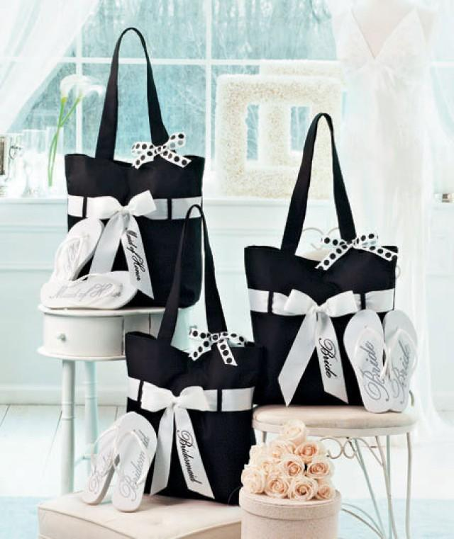 Cheap Gifts For Wedding Party: Wedding Tote And Flip-Flop Sets, Personalized Wedding Bag