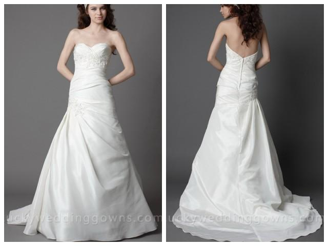 Taffeta Strapless Trumpet Wedding Dresses With Beaded Lace : A line taffeta strapless wedding dress with beaded lace
