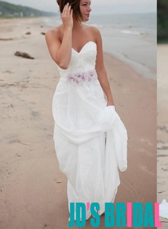 H1676 Simple Airy Chiffon Beach White Wedding Dresses 2492452
