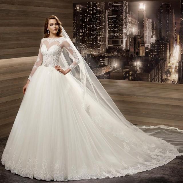 New arrivals wedding dresses 2016 europe illusion sheer for Wedding dresses for big women