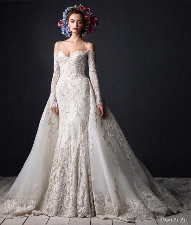 Detachable Trains For Wedding Gowns: Luxury Beads Appliques Long Sleeves Lace Mermaid Wedding