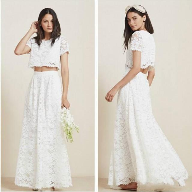 Stunning 2016 two piece full lace beach wedding dresses for Cheap lace wedding dresses with sleeves