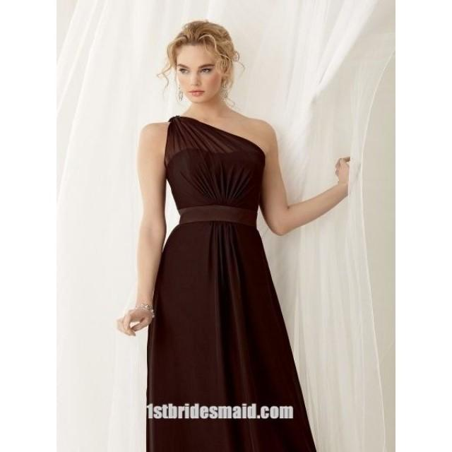 wedding photo - A-line One-shoulder Chiffon Bridesmaid Dress(BD0722)
