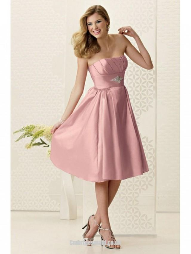 wedding photo - New Strapless A-line Sleeveless Satin Knee-length Uk Bridesmaid Dresses UK