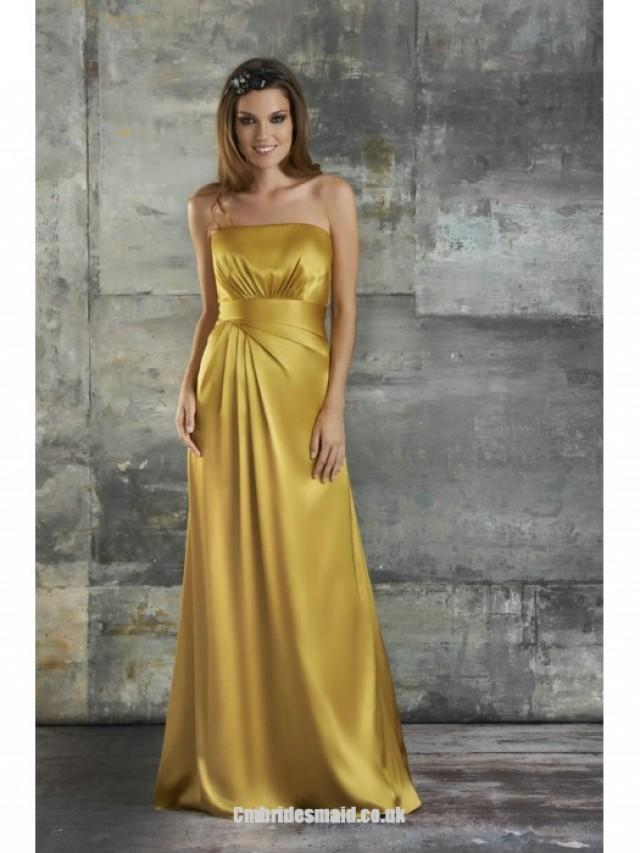 wedding photo - New Strapless A-line Sleeveless Satin Floor-length Uk Bridesmaid Dresses UK