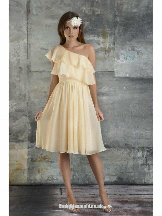 wedding photo - New One Shoulder A-line Sleeveless Chiffon Knee-length Uk Bridesmaid Dresses UK