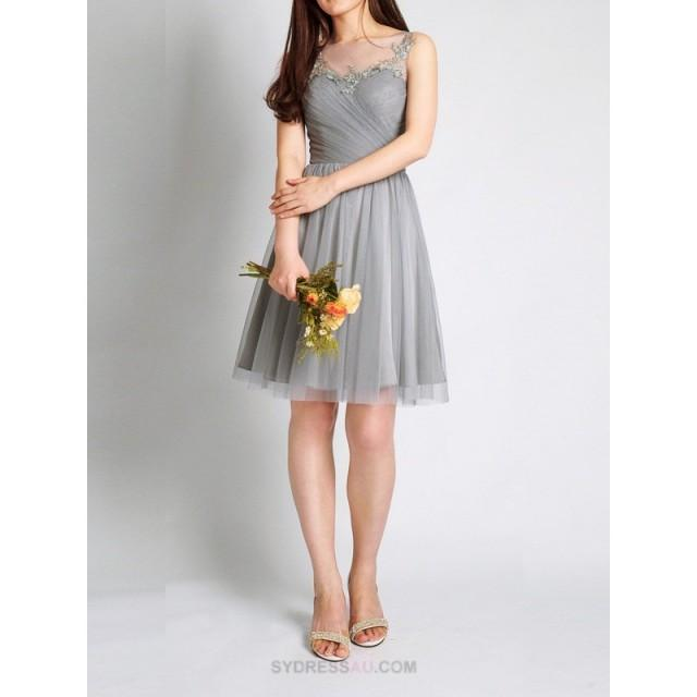 wedding photo - Grey Sleeveless Illusion Tulle Pleated Knee Length Bridesmaid Dress Wedding Party Dresses