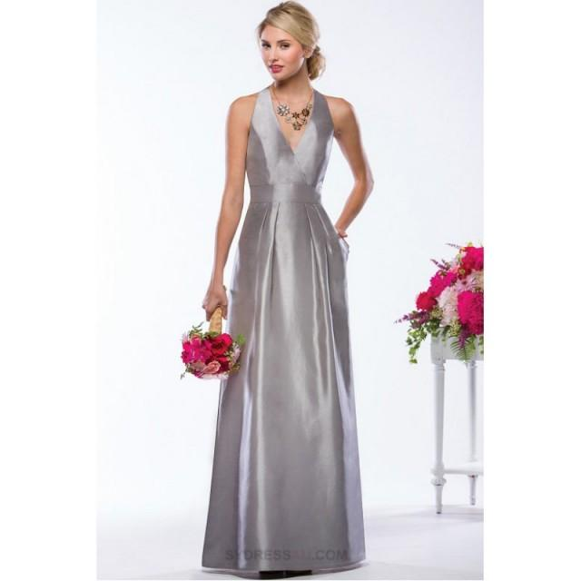wedding photo - Grey Halter Sleeveless A-line Long Taffeta Bridesmaid Dress Sexy Keyhole Back Wedding Party Dresses