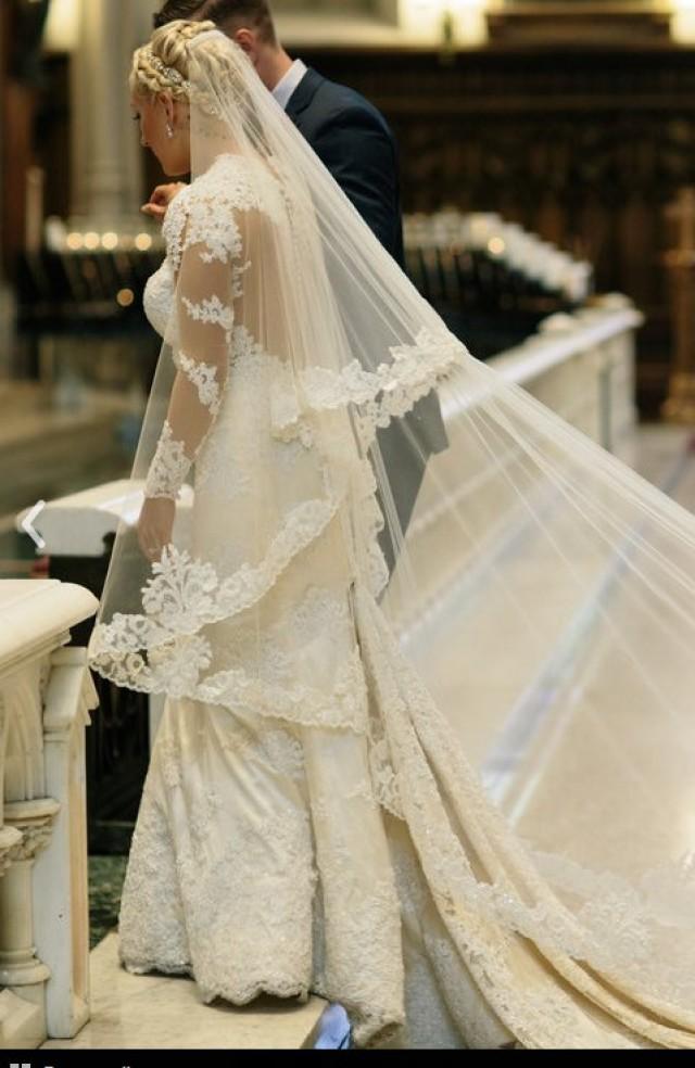 Veil Beaded Lace Custom Drop Mantilla Royal Wedding Bridal Bespoke Theresa